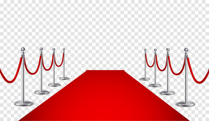 Red carpet and golden barriers realistic 3d illustration. Grand opening.  Cinema premiere. VIP event, luxury celebration. Celebrity party entrance.