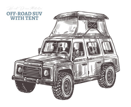 Vector off-road suv car with rooftop tent.  Hand drawn sketch automobile for bad roads, safari, extreme sport, rally and mountain adventure. Engraving illustration