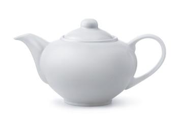 Obraz Side view of white ceramic teapot - fototapety do salonu