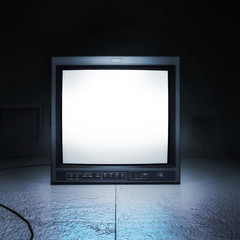 Vintage CRT TV monitor 3d rendering scene with blank screen, to use your own video in it