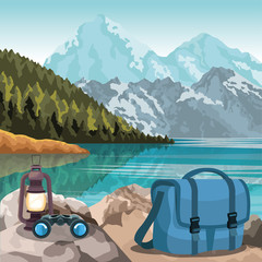 Wall Murals Blue jeans beautiful mountains and lake landscape with bag, binoculars and lantern, colorful design