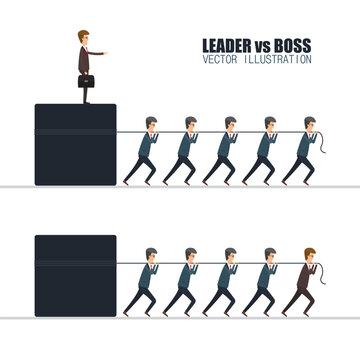 Boss vs leader concept. Vector illustration in flat design.