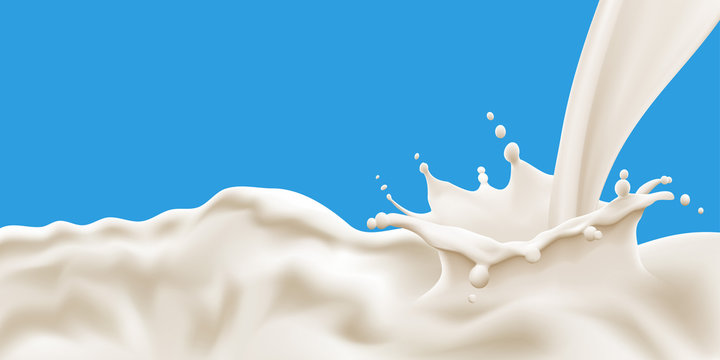 Splashing and flowing milk wave on blue background. Vector illustration for poster, brochure, label and product ad desing