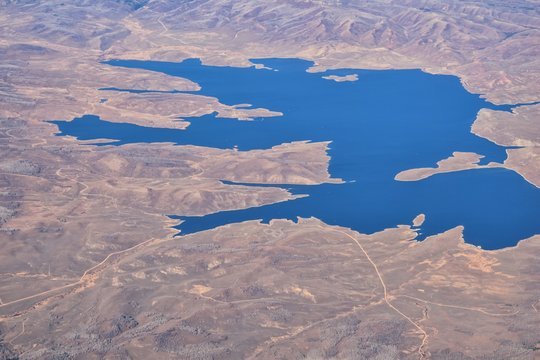 Strawberry Reservoir Bay lake aerial drone view from airplane in Fall by Daniels Summit between Heber and Duchesne in the Uintah Basin, Utah, United States of America, USA.