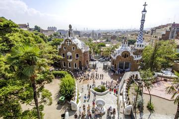 Türaufkleber Barcelona Barcelona, Park Guell, Architekt Antonio Gaudi, Spanien, Katalan