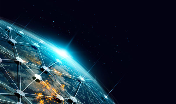 Communication technology and internet worldwide for business. Global world network connected and telecommunication on earth and IoT. Elements of this image furnished by NASA