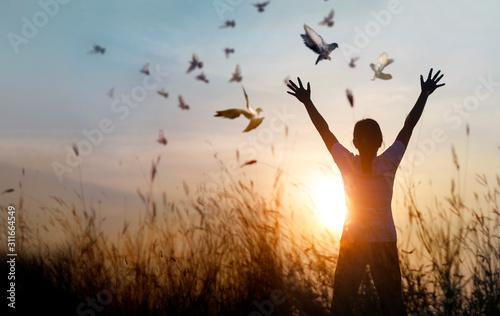 Leinwandbilder Woman praying and free bird enjoying nature on sunset background, hope concept