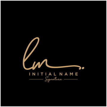 Letter LM Signature Logo Template Vector