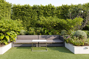 Modern Sofa and furniture on rooftop garden.