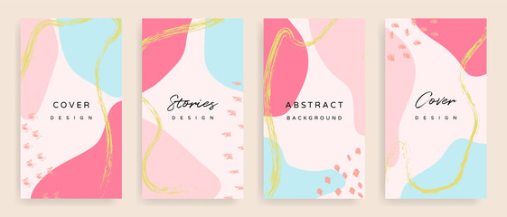 Fotobehang - Social media stories and post creative Vector set. Background template with copy space for text and images design by abstract colored shapes,  line arts and natural shape.