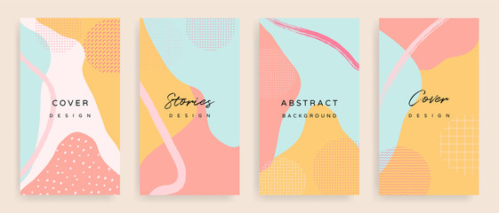 Social media stories and post creative Vector set. Background template with copy space for text and images design by abstract colored shapes,  line arts and natural shape.