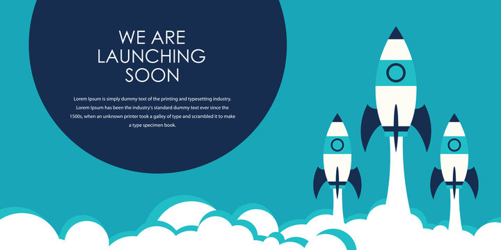 Flat design concept of startup, launch product or service. Vector illustration for website banner