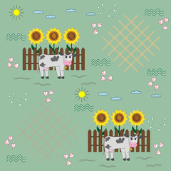Cow on fence background, seamless pattern, light green background, illustration for children, vector
