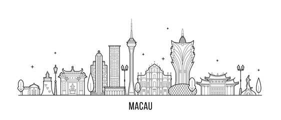 Wall Mural - Macau skyline China city buildings vector linear