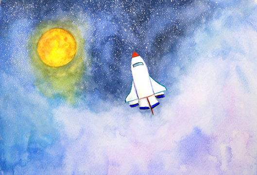 watercolor landscape rocket and moon in the sky universe