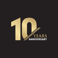 10th Year anniversary emblem logo design vector template