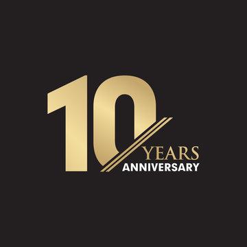 10th Year anniversary emblem logo design vector template