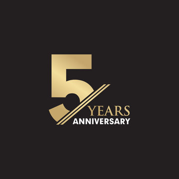 5th Year anniversary emblem logo design vector template