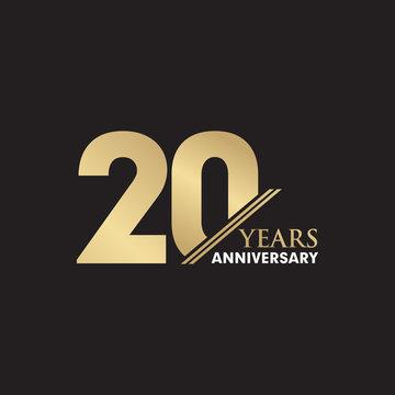 20th Year anniversary emblem logo design vector template