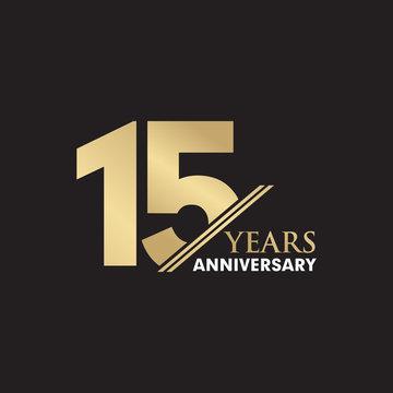 15th Year anniversary emblem logo design vector template
