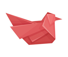 Origami Paper Sitting Bird Vector Illustration. Made of Paper Polygonal Shaped Figure