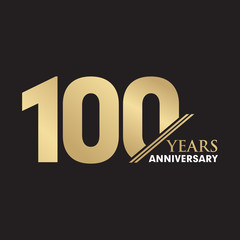 100th Year anniversary emblem logo design vector template