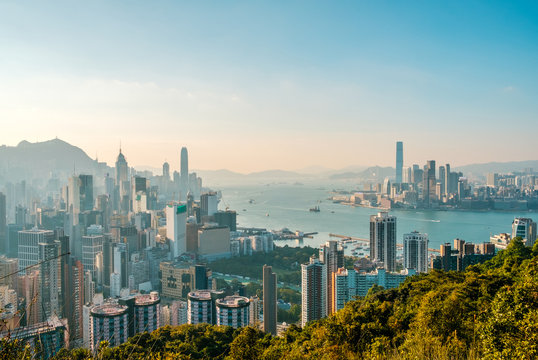 Hong Kong City skyline , and Kowloon and HongKong Island -