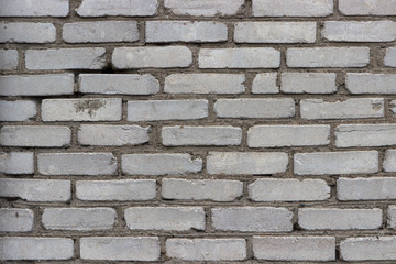 white brick wall, uneven and embossed surface, grunge, old