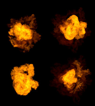 4 different pictures of fire explosion - very high resolution bomb blast concept isolated on black, 3D illustration of objects