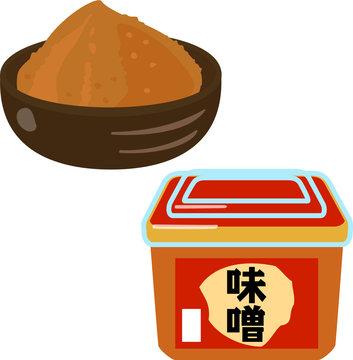パック入りの味噌と皿に盛った味噌