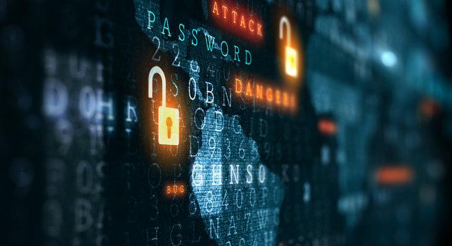 Danger of hack attack . Mixed media