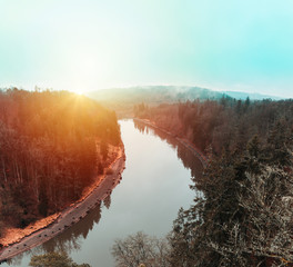 Nice sunset on Vltava river from Baba lookout, Czech landscape