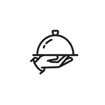 Hand holding cloche and tray thin line icon. Food serving, waiter, restaurant isolated outline sign. Cooking concept. Vector illustration symbol element for web design and apps