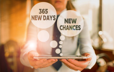 Conceptual hand writing showing 365 New Days New Chances. Concept meaning Starting another year Calendar Opportunities Woman in the background pointing with finger in empty space