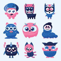 cute and kawaii monster cartoon design collection design for logo and print product - vector
