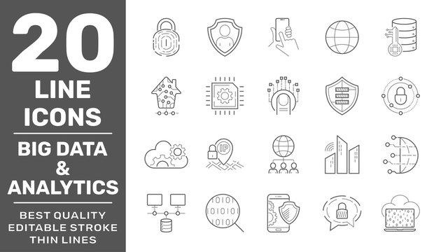 Big data and Data analysis vector line icons, minimal pictogram design. Editable Stroke. EPS 10