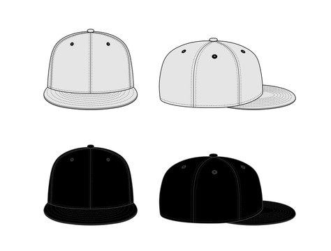 Baseball cap template vector illustration  set / white & black