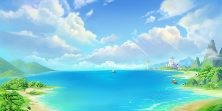 Sea Town, Seaside, Beach and Coast. Fantasy Backdrop. Concept Art. Realistic Illustration. Video Game Digital CG Artwork Background. Natural Scenery.