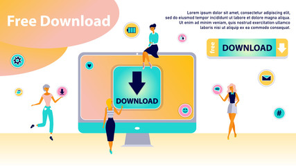 Free download concept. Banner with stream or upload meaning. Stylized concept for torrent data from servers, online media shopping, file transfer and sharing. Modern people life.
