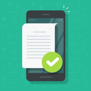 Document file page with checkmark notice on mobile phone or text file note confirmed with tick on cellphone vector, flat cartoon smartphone with text page or message notification approved image