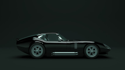 Powerful Black Sports Roadster Coupe Car 1960's 3d illustration 3d render