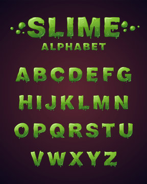 Font of green slime. Letters with green glaze.