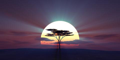 Foto auf Acrylglas Aubergine lila big sun sunset tree landscape, 3d illustrations