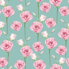 Floral Seamless Pattern with pink eustoma spring flowers and leaves. Spring Blooming Flowers on mint Background.