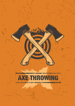 Axe Throwing Wilderness Outdoor Activity On Grunge Background