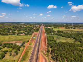 Aerial view of the new Route 7 (Ruta 7) from Caaguazu to Ciudad del Este in Paraguay, which has been expanded to four lanes.