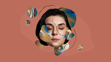Surreal portrait of a beautiful girl. Art collage.