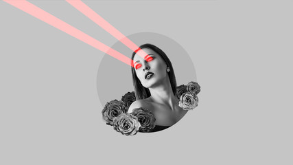 Attractive woman shoots laser beams from her eyes. Surreal portrait. Art collage. Wall mural