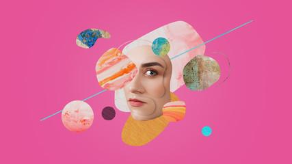 Obraz Surreal portrait of a beautiful girl. Art collage. - fototapety do salonu