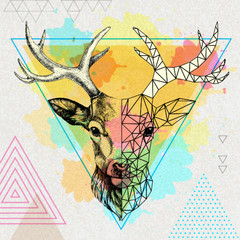Hipster animal realistic and polygonal deer on artistic watercolor background